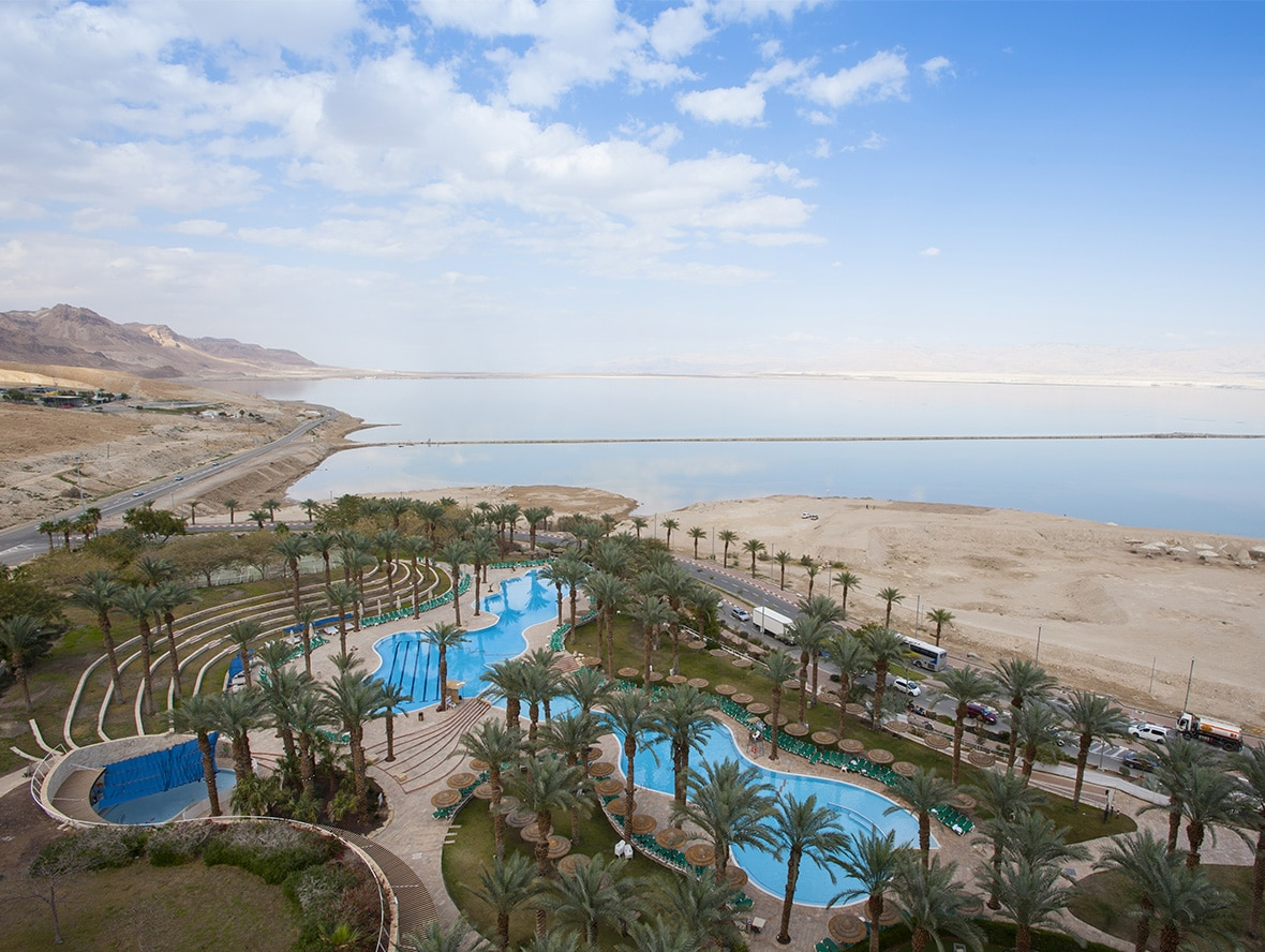 Drone view of the outdoor swimming pool at the David Hotel Dead Sea
